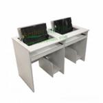 雙人翻轉電腦桌 機房電腦桌 電教室翻轉桌