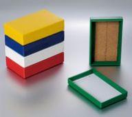 100片玻片盒,耐用塑料,易堆放,软木铺底,8.25 x 6.37 x 1.25 英寸,适合3x1英寸的玻片