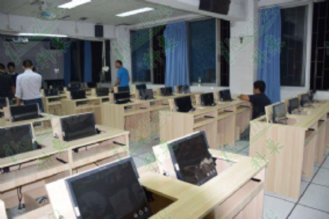 1.6米双人翻转办公桌 机房电脑桌 隐藏式电脑翻转桌